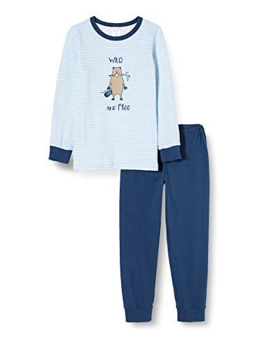 Schiesser Jungen Kn Lang Zweiteiliger Schlafanzug, Blau (hellblau 805), 140