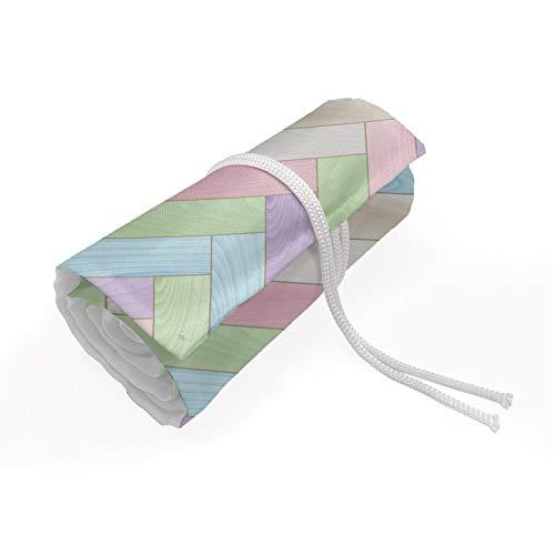 ABAKUHAUS Pastell Mäppchen Rollenhalter, Parkett mit Fischgrätmuster Weich, langlebig und tragbar Segeltuch Stiftablage Organizer, 48 Schlaufen, Mehrfarbig