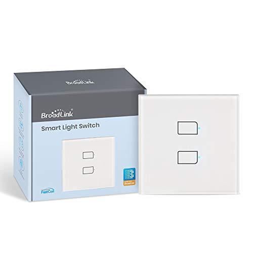BroadLink Smart Touch Wall Switch Versión de la UE, Interruptor monocable de 2 banda, no requiere neutro ni condensador, funciona con Alexa y Google Home, se requiere un hub(no hub)