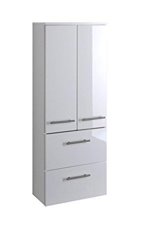 lifestyle4living Badezimmerschrank in Weiß, Hochglanz, breit | Halbhoher Midischrank mit 2 Türen, 2 Schubkästen und 2 Einlegeböden
