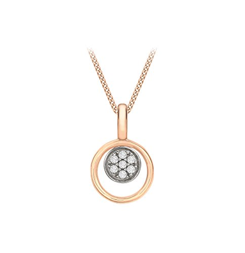 Carissima Gold Women's 9 ct Rose Gold Cubic Zirconia Disc Double Pendant Necklace of Length 45.72 cm