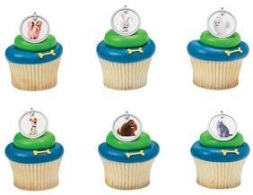 24 Pack The Secret Life of Pets Dog Tags Cupcake Rings Max and Snowball Kids Birthday Party Supplies Great for Favor Bags