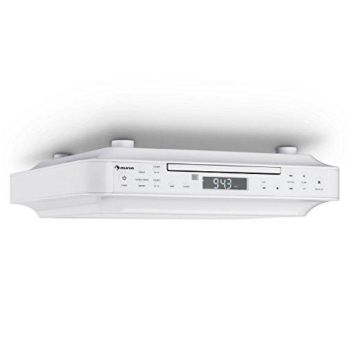 auna KRCD-100 BT Unterbau-Radio Küchenradio (CD-Player, Wecker, Timer, UKW-Radio, Bluetooth, MP3, LCD-Display, 29 x 8 x 26,5 cm (BxHxT), ca. 1,2 kg, Leistung 2 x 12 Watt RMS) weiß