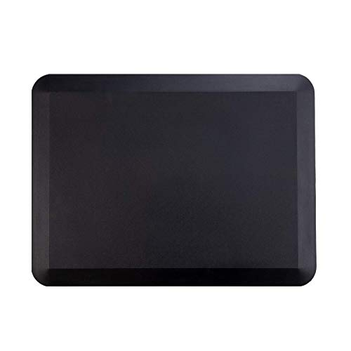 Lubvlook Anti Fatigue Comfort Floor Mat, 3/4' Thick Ergonomic Home Office Kitchen Standing Adjustable Height Desk Mat, 18' x 24', Black