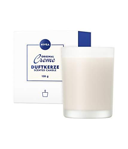 NIVEA Bougie parfumée à la crème NIVEA, Jolie bougie senteur crème NIVEA dans un porte bougie en verre, Bougie délicatement parfumée dans bougeoir en verre opale, 120 g
