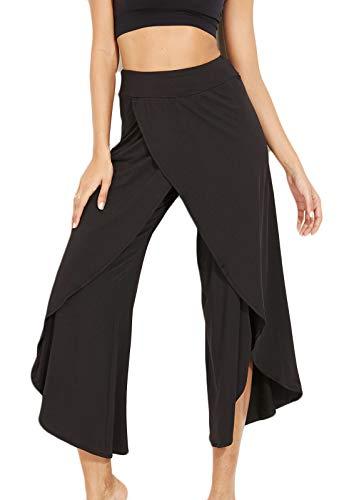 FITTOO Pantalones De Yoga Sueltos Cintura Alta Mujer Pantalones Largos Deportivos Suaves y Cómodos1080#4 Negro S