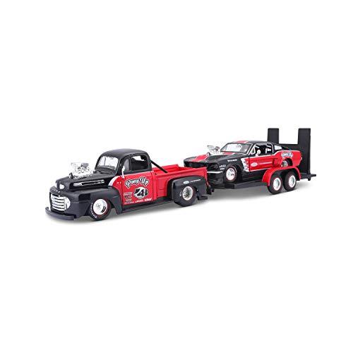 Maisto Design Elite Transporter Ford F1 Pickup (1948) + Ford Mustang GT (1967): Modelltransporter mit Anhänger, 2 Modellautos, Türen zum Öffnen, Maßstab 1:24, 43 cm, rot-schwarz (532751)