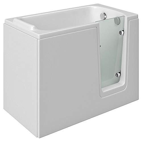 Badewanne mit Tür, Seniorenbadewanne 121x65cm mit Wannenschürze und Ablauf/Sifon, Ausführung Rechts