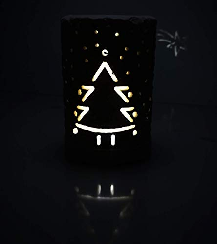 Handgefertigt in Italien 2in1 Weihnachtsbaum & Leitstern Kerzenhalter & LED-Lampe. Inkl. Geschenkbox Kerze LED-Licht mit Batterien & Leere Message Card. Dekoratives Herzstück Tisch Xmas Festive