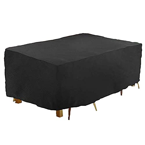 ZWYSL Cubierta de Mesa de Jardín Impermeable para Muebles de Exterior, Mesa de Picnic Rectangular Lona Protectora, Negro 33 Tamaños, Personalizable (Color : Negro, Size : 308×138×89cm)