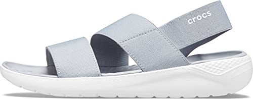 Crocs Women's LiteRide Stretch Sandals, Light Grey/White, 10 Women