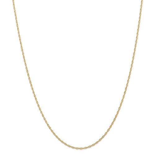 Diamond2deal 14K giallo oro 1.35mm cardato cavo corda catena collana 50,8cm