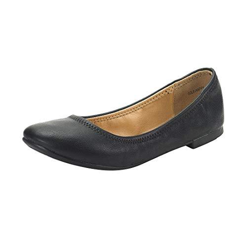 DREAM PAIRS Women's Slip On Round Toe Ballerina Ballet Flats Pumps Shoes Sole Happy Black Size 7 US/ 5 UK