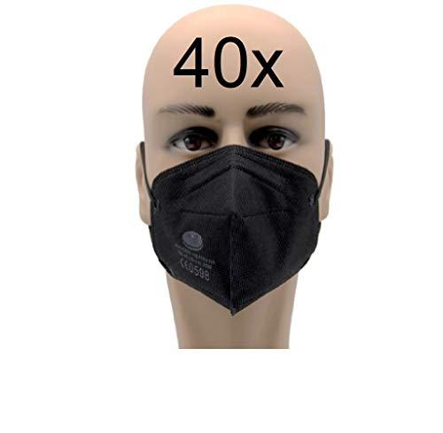 40x FFP2 Maske CE 0598 zertifiziert Atemschutzmaske schneller Versand aus Deutschland schwarz