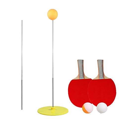 Elastischer Tischtennistrainer Mit Weichem Schaft Elastische Stange 90cm Dekompressionstraining Augenkraft-Trainingsball 2 Tischtennis-Paddel Und 3 Tischtennisball-Set Für Das Spielen Im Innen