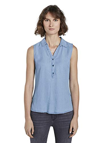 TOM TAILOR Damen Kurzarm aus Lyocell Bluse, Blau (10110-Blue Denim), 40