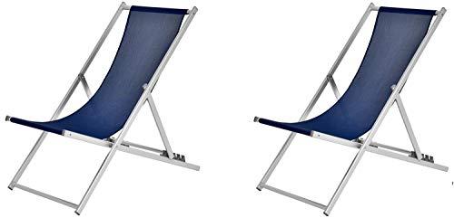 XONE Coppia Sdraio 5 Posizioni Blu   2 Sdraio Spiaggia Giardino in Alluminio e textilene, Dimensioni 102x58x93 cm