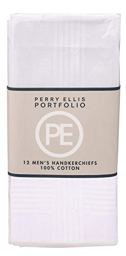 "Perry Ellis 12 Pack Handkerchief (100% Cotton White with Satin Border, 16"" x 16"")"