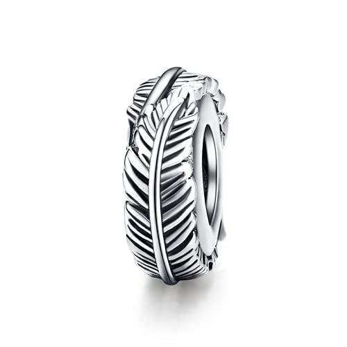 ZHANGCHEN Encantos de Plata esterlina 925 con Forma de Pluma, joyería de Esmalte Colorida, encantos Originales de Pulsera de Plata 925,