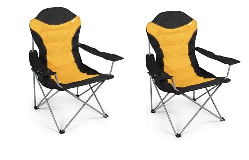 Kampa 2 x XL High Back Sunset Yellow Lightweight Durable Compact Folding...