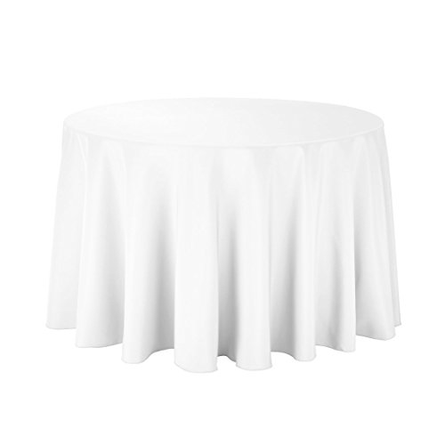 Gee Di Moda Tablecloth - 108' Inch Round Tablecloths for Circular Table Cover in White Washable Polyester - Great for Buffet Table, Parties, Holiday Dinner & More