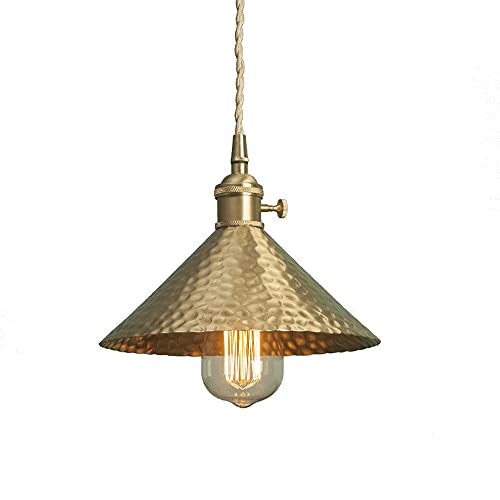 Ahzhlb Luz Colgante de latón, Cuerpo de la lámpara de Cobre con Luces Colgantes de Frisbee Forma de Martillo, E27 Edison Titular de la lámpara anticuada, lámparas de suspensión Simples Americanas