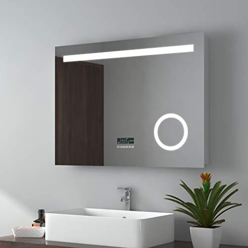 EMKE 80x60cm LED Badspiegel Wandspiegel Beleuchtung Badezimmerspiegel Schminkspiegel mit 3-Fach Vergrößerung mit Bluetooth 4.1 Lautsprecher, Touch-Schalter, Digitaluhr