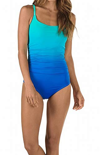 Speedo Ombre Shirred One Piece Swimsuit (7734035) 8/Peacock Blue