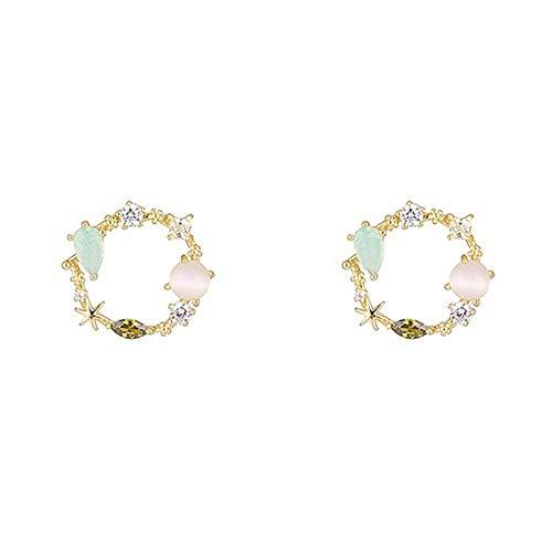 Mujeres redondas Crystal Stud Pendientes Sweet Flower Cirlce Pendientes (Metal Color : Pink)