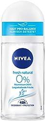 NIVEA Fresh Natural Deo Roll On (50 ml), Deo Roller ohne Aluminium (ACH) mit dezent frischem Duft und antibakteriellem Schutz, pflegendes 48h Deodorant