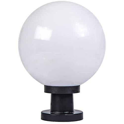 Extérieure Imperméable À l'eau IP55 Pilier Poteau Lampes Coupe-Vent Globe Colonne Lumière Lanterne Acrylique Boule Cour Patio Porche Porte Rue Luminaire avec Abat-Jour Blanc,250mm