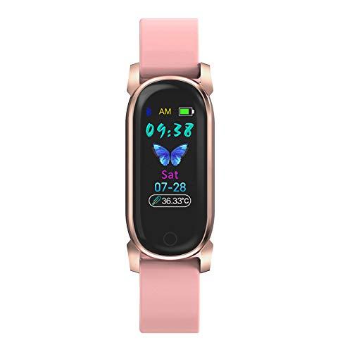 BNMY Smartwatch, Reloj Inteligente Impermeable IP67 para Hombre Mujer Niños, Pulsera De Actividad Inteligente con Monitor De Sueño Medidor De Temperatura Corporal para Android iOS,Rosado