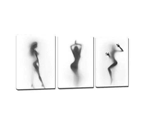 Yatsen Bridge Sexy Nude Woman Photos Naked Girl in The Shower Hazy Shadow Wall Art 3 Panels Modern Abstract Canvas Painting Artwork for Living Room Bathroom Wooden Framed Home Decor (48
