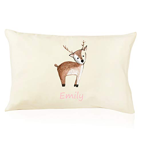 DorDor & GorGor Personalized Toddler Pillow with Watercolor Pillowcase, Ultra Soft Organic Cotton, Giftable Box, 13 X 18 inches, Baby Deer