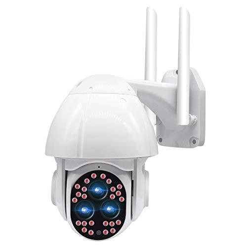 DXPSLGrvd Cámara al Aire Libre 24 LED + 3HD Lentes a Todo Color 1080p Noche VIGHT 355 ° PTZ 4X Zoom Rotación IP66 Impermeable