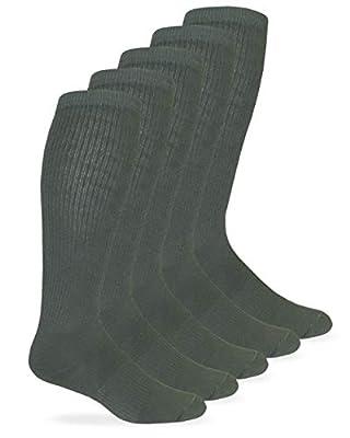 Jefferies Socks Mens Military Half Cushion Wool Combat over the Calf Boot Socks 6 Pair Pack (Sock:10-13/Shoe:9-13, Foliage Green)