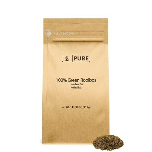 Green Rooibos Loose Leaf Cut (1 lb), Antioxidants, 100% Pure Herbal Tea Leaves, Caffeine-free, No Additives or Fillers