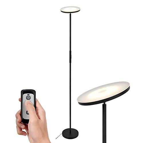 SimpleHome Zwarte LED vloerlamp 20W met afstandsbediening, moderne LED uplighter dimbaar met 3 lichtkleuren (warm wit, koel wit, neutraal wit), extra verlichting voor woonkamer, slaapkamer, kantoor.