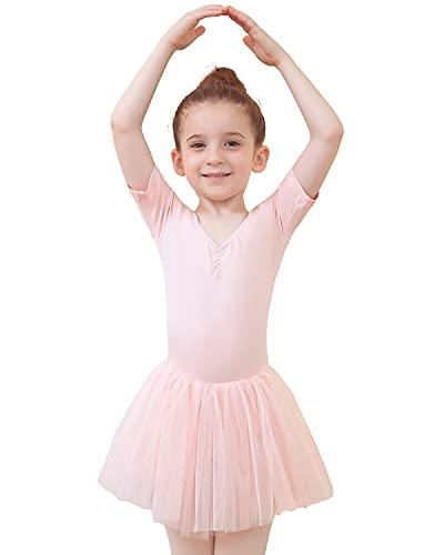 Tancefair Mädchen Ballettkleidung Kinder Ballettkleid Balletttrikot Baumwolle Tanzkleidung Kurzarm Tanzkleid Kostüm mit Dreilagigem Weichem Garn Rock Tütü