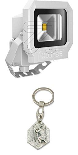 Esylux LED-Strahler 3000K 10W weiß EL10810008 mit Anhänger Hlg. Christophorus