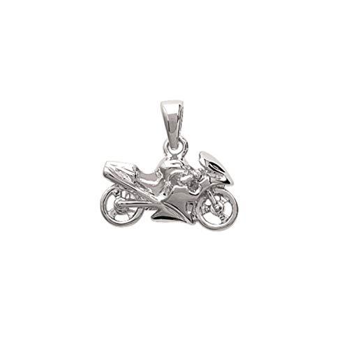 Mary Jane - Dije colgante de plata unisex, 18 x 12 mm, plata 925 / 1000, diseño de moto.