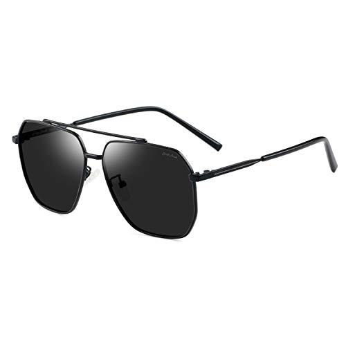 GREY JACK Square Polarized Sunglasses for Men and Women Black Frame/Black Lens