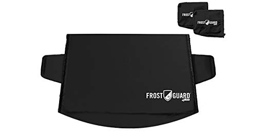 FrostGuard Plus Winter Windshield + Mirror Covers - Weather Resistant - Security Panels and Wiper Blade Cover - Protects from Snow, Ice and Frost (Standard, Black)…