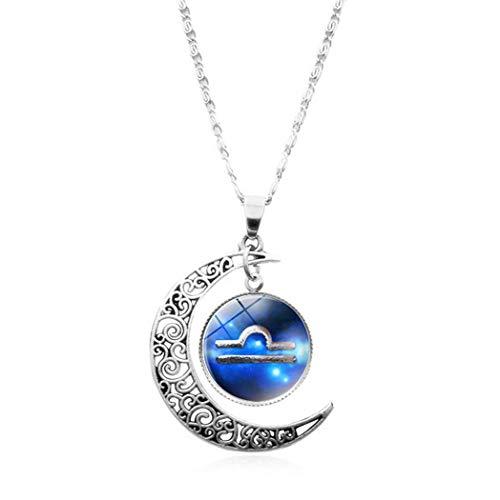 QZH Collar largo para mujer, piedra preciosa del tiempo, hermoso azul Libra Art Europa y América Collar con colgante de cristal de la mitad de la luna collar hecho a mano joyería clavícula cadena