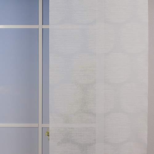 SCHÖNER LEBEN. Gardinenstsoff Flächenvorhang Schiebe-Paneele Meterware Bali Kreise Leinenoptik Glanzgarn Creme beige 60cm Breite