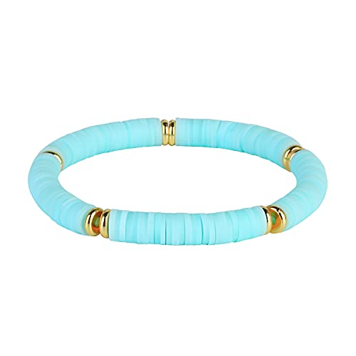 KELITCH Pulseras Elásticas Apilables Rainbow Heishi Pulseras con Cuentas Pulseras Elásticas De La Amistad Boho Summer Beach Jewelry (01H)