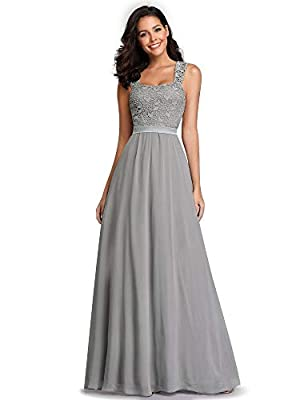 Ever-Pretty Women's A-Line Floral Lace Long Bridesmaid Dress Prom Party Dress Gray US4