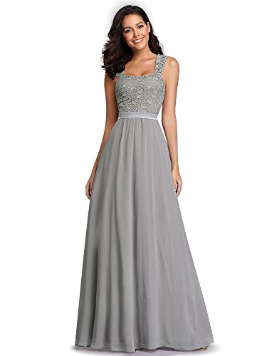 Ever-Pretty Women's Vintage Floral Lace Sleeveless Wedding Party Dress Gray US12
