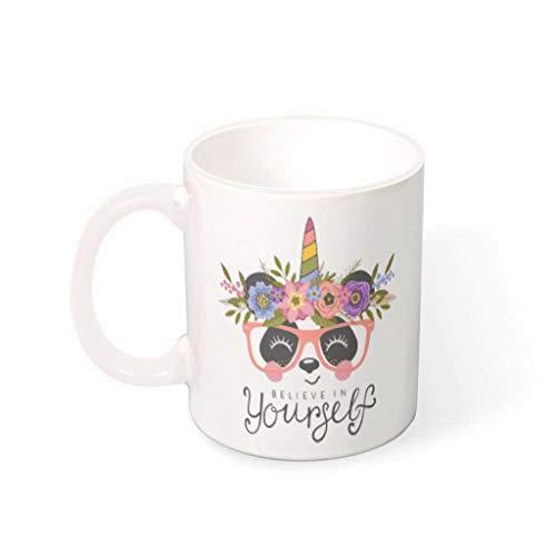 O2ECH-8 Mischen Kaffee Mug mit Griff Hochwertige Keramik Personalize Becher Tasse - Cartoon Frauen Geschenke, Geeignet für Baby verwenden 11 oz White 330ml