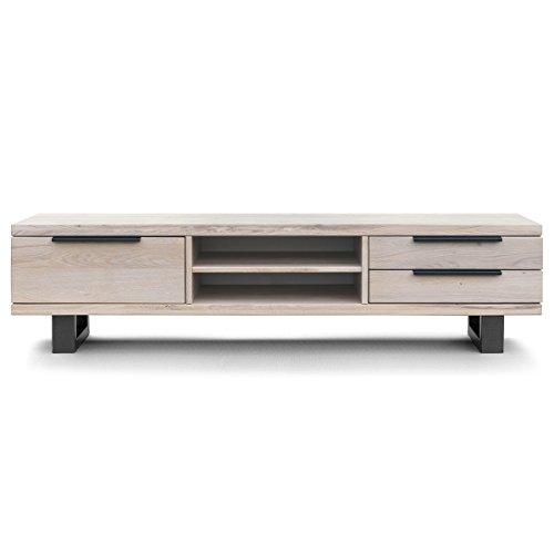 COMIFORT Mueble de TV - Mesa de Roble Macizo para Salón Moderno, Estilo Nórdico, con 3 Cajones y 2 Estantes, Patas de Acero con Acabado Negro, Color Blanco